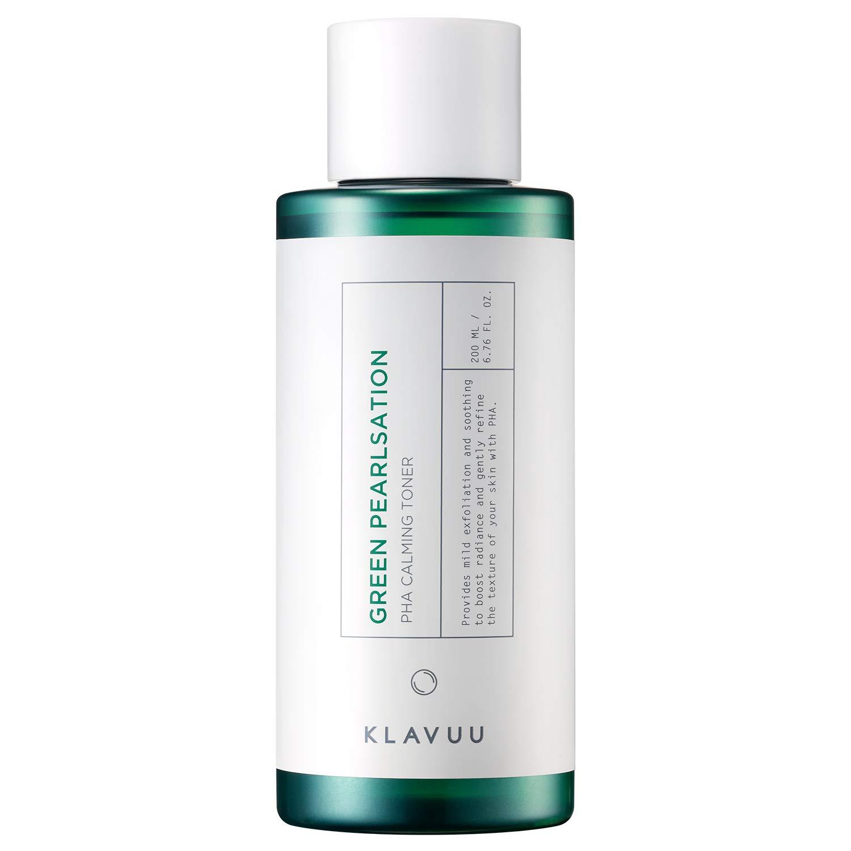 KLAVUU Green Pearlsation PHA Calming Toner 200ml (6.8 fl.oz) - pH Balanced Exfoliating Trouble Relief Astringent, Tea Tree & Centella Asiatica Mild Soothing and Peeling Skin Care