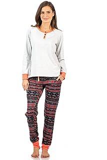 Ashford   Brooks Women s Cotton Henley with Sweater Fleece Pants Pyjama Set b733ca99b