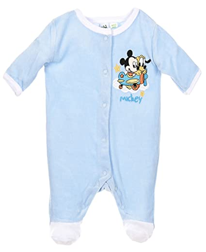 Pijama terciopelo nacimiento bebé niño Mickey azul y blanco de 0 a 3 meses azul azul