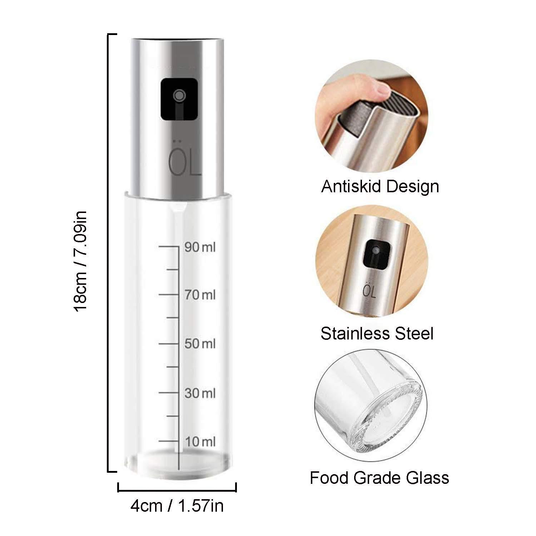 Dispensador de pulverizador de aceite, Yisscen 100ml Aceite de oliva pulverizador - Aceite Cristal Transparente y Acero Inoxidable Botella de Spray ...