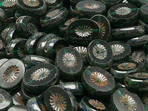 10pcs Czech Glass Beads Table Cut Oval 14x10mm Chrysolite Transparent Travertine