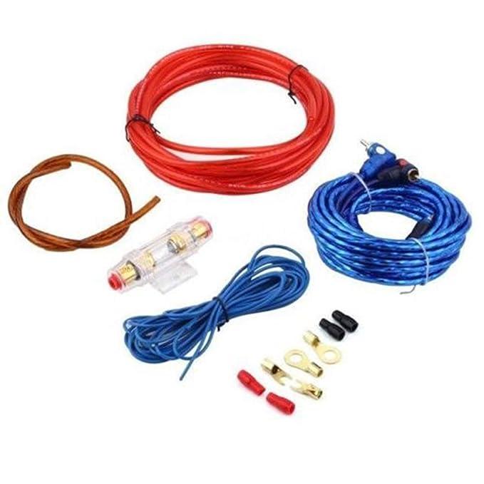 Kit de instalaci/ón de Amplificador para autom/óvil Cables de woofer Altavoz de autom/óvil Ballylelly 1 Juego de Amplificador de Potencia para autom/óvil Conjunto de subwoofer con Fusible