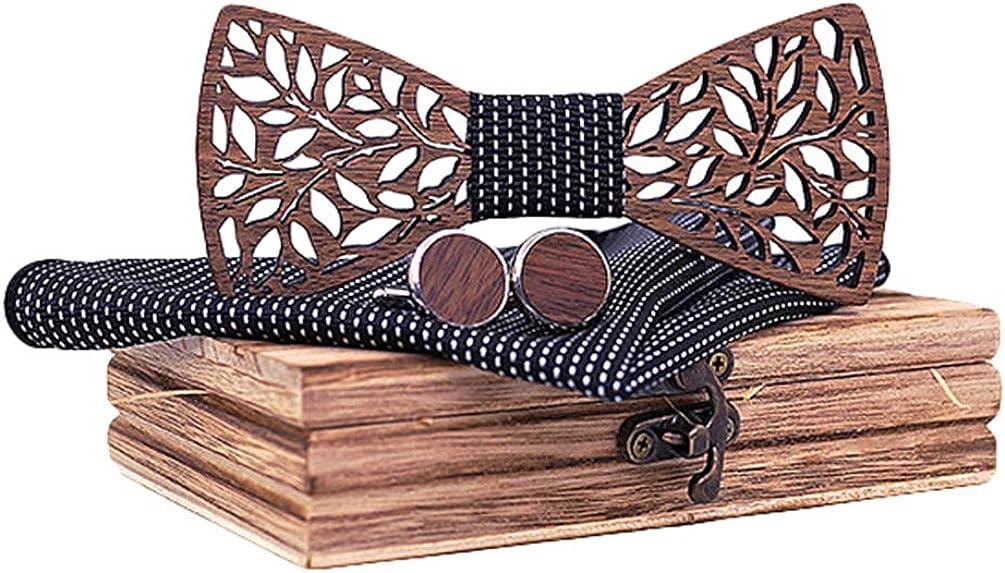 Lvguang Conception de Sculpture Creusee Unique Noeud Papillon en Bois de Style R/étro