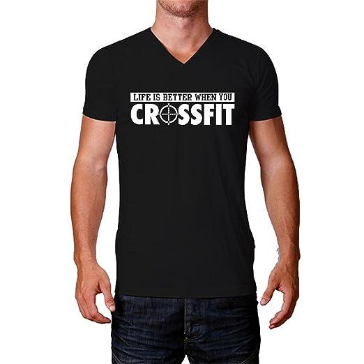 9b776022 Amazon.com: Shake Grass Funny Mens Crossfit T-Shirt Generic Short-Sleeve  V-Neck Blue: Clothing
