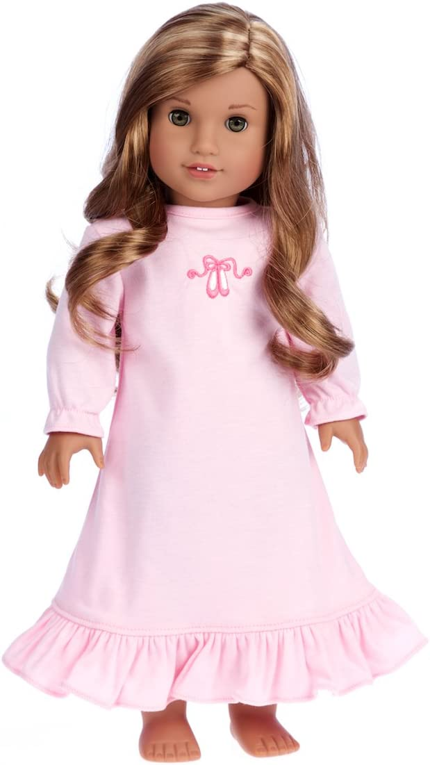 18 Inch Doll Clothes Pink Nightgown with Bunny for American Girl Dolls