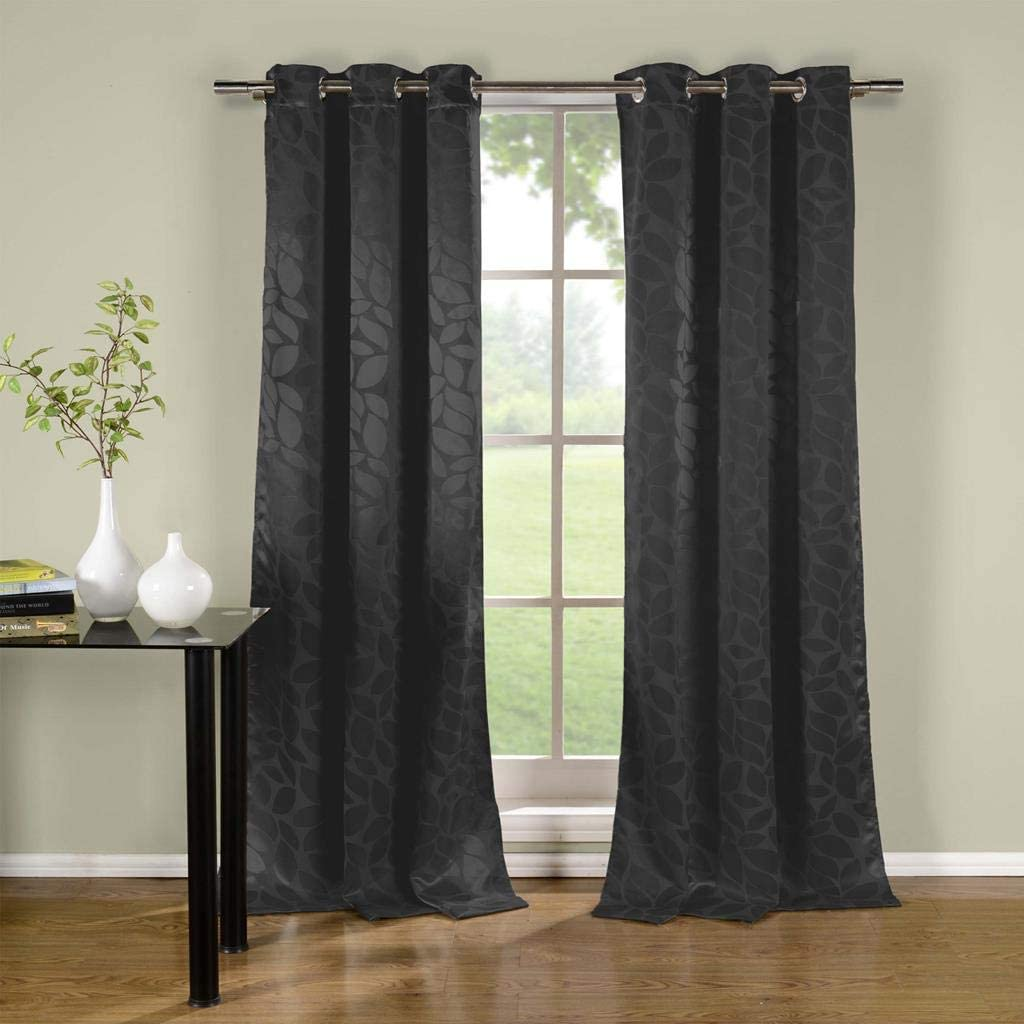 Duck River Textiles - Zayden Floral Leaf Print Silk Textured Grommet Top Window Curtains for Living Room & Bedroom - Assorted Colors - Set of 2 Panels (38 X 96 Inch - Black)