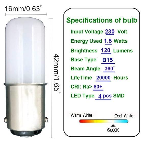 MZMing [2 unidades] LED B15 Ahorro de Energía Bombilla LED de 1.5 Vatios Equivalente a Bombilla Halógena de 15 Vatios Blanco Frío 6000K-Máquina de Coser ...
