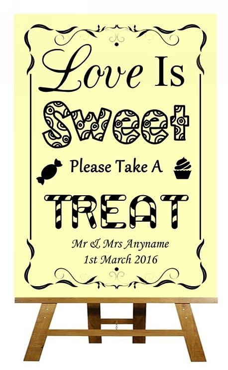 Love Is Sweet Candy Bar carro BUFFET amarillo colección personalizado impreso tarjeta boda señal, color