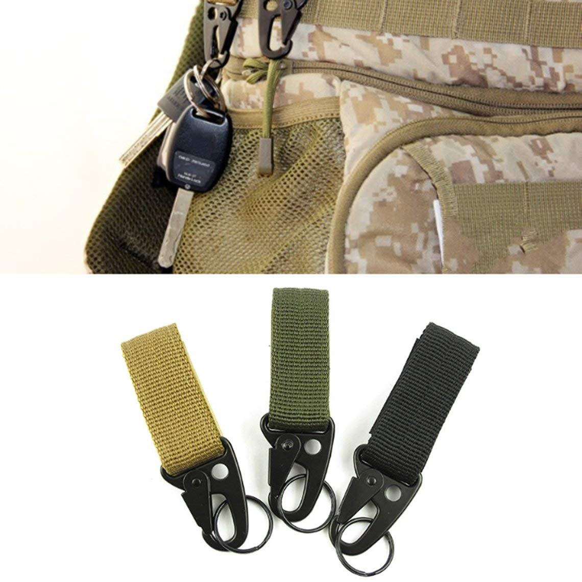 Zinniaya Outdoor Nylon Key Hook Webbing Buckle Hanging Belt Carabiner Clip Multifunctional Camping Climbing Hiking Equipment Buckles