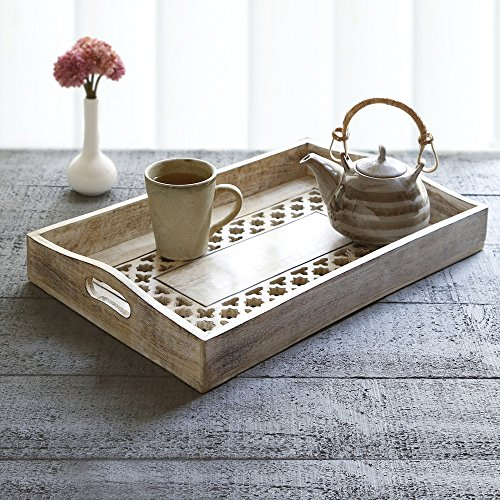 Wooden Large Breakfast Serving Tray with Handles Tea Snack Dessert Parties Serveware Dining Accessory (Design 2) (Halloween Snack Ideas For Classroom Party)