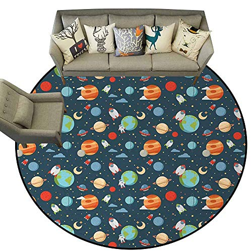 Neptune Carpet - Boys,Anti-Slip Cooking Kitchen Carpets D36 Cartoon Style Astrological Concepts Earth Mars Saturn Neptune Astronaut and Craft Throw Rugs Multicolor