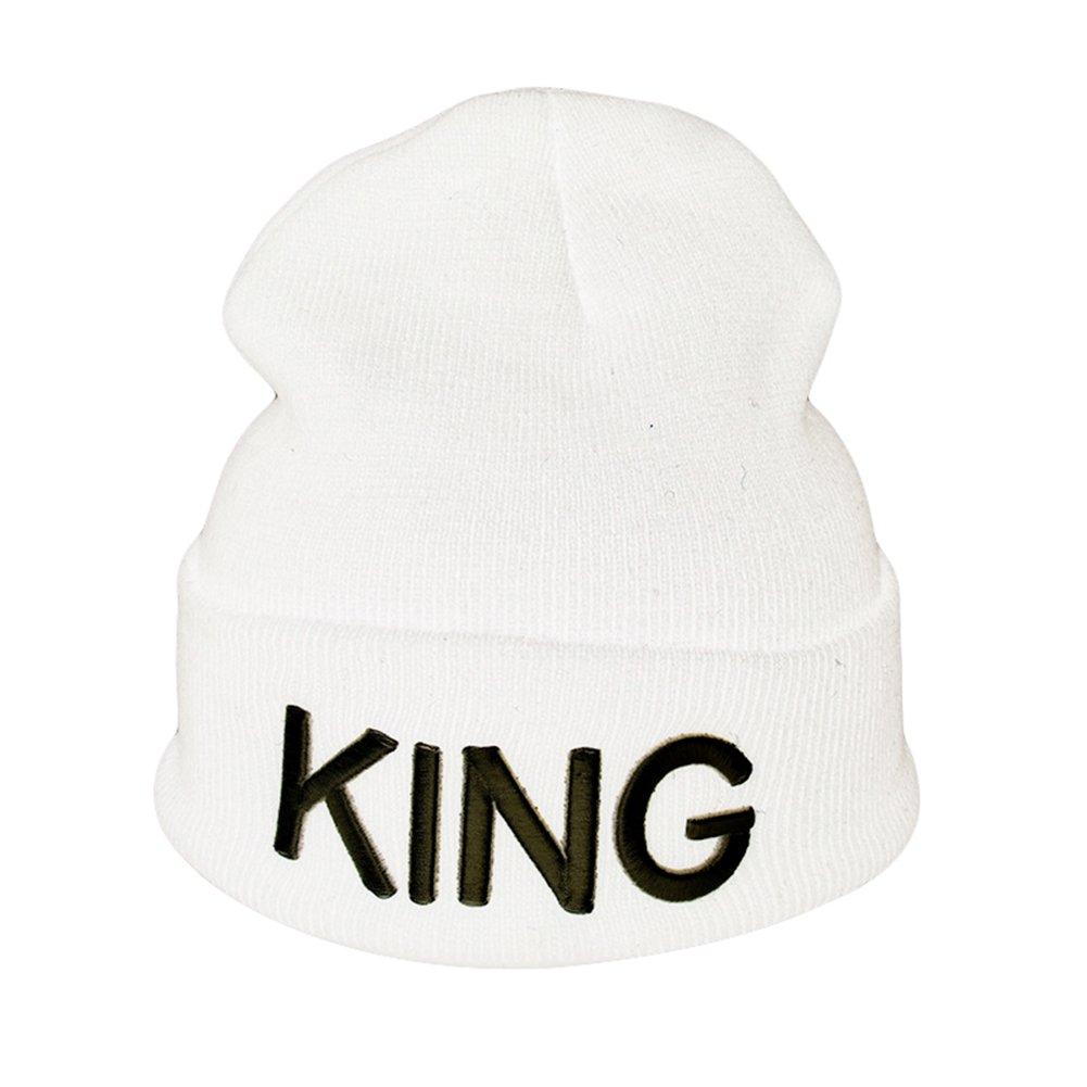 Strickmütze Buchstabe Print King/Queen Paar gerippte Mütze Slouchy Beanie Cap Yosemite