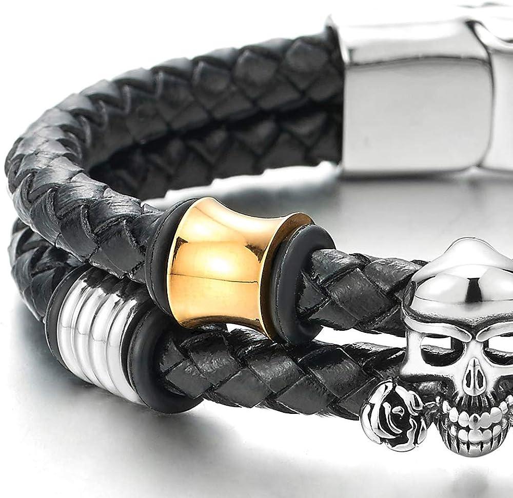 Fermoir Magn/étique iMETACLII Homme Double Brin Noir V/éritable Cuir Bracelet avec Acier Rose Cr/âne et Argent Or Ornement