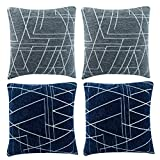 CRJHNS Throw Pillow Covers Soft Chenille Cushion Cover Geometric Design Pillowcase Decorative for Couch,Bedroom, Set of 4,18x18 inch(Bule and Gary)