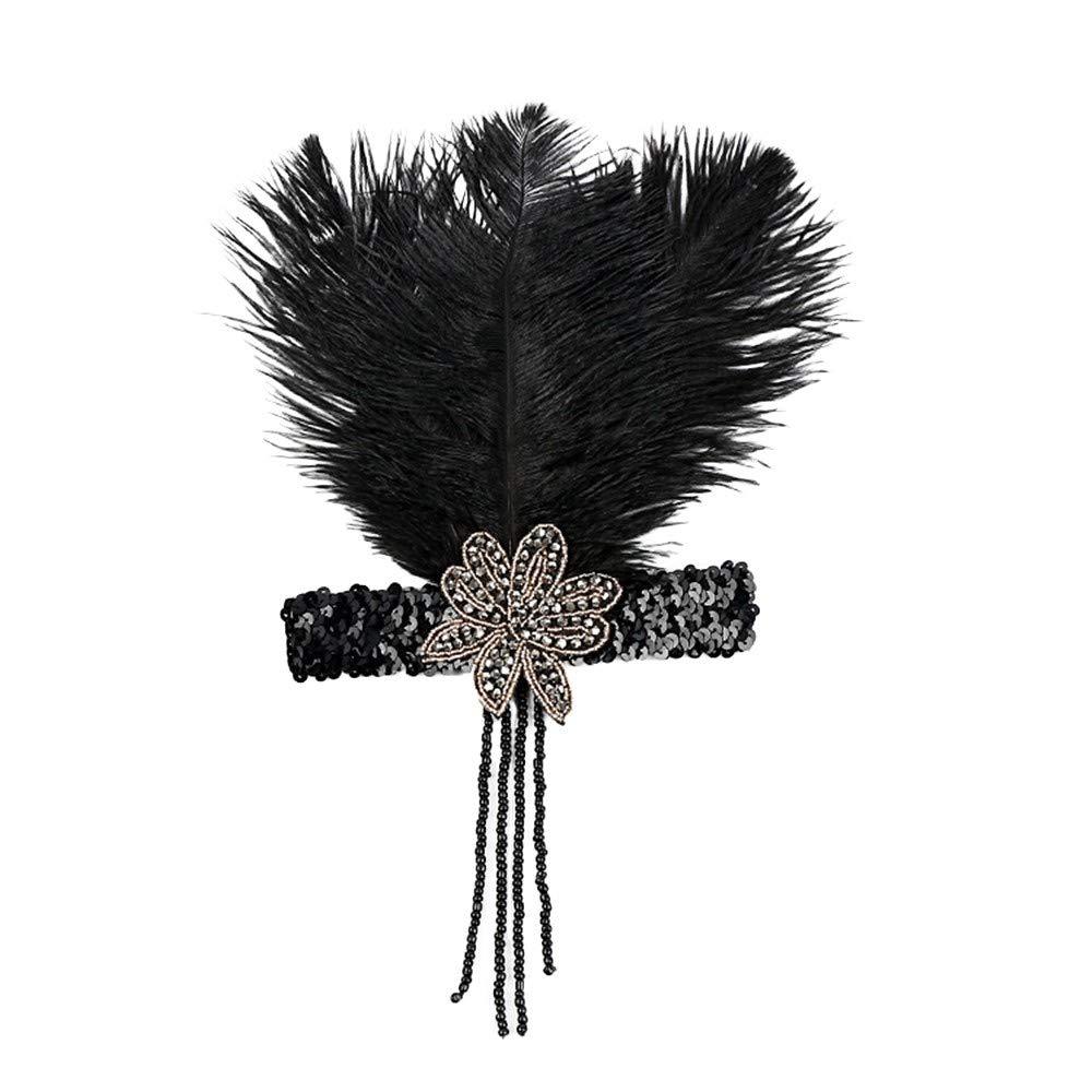 Années 1920 Plume Bandeau Flapper Great Gatsby Coiffe Vintage Casque Accessoires