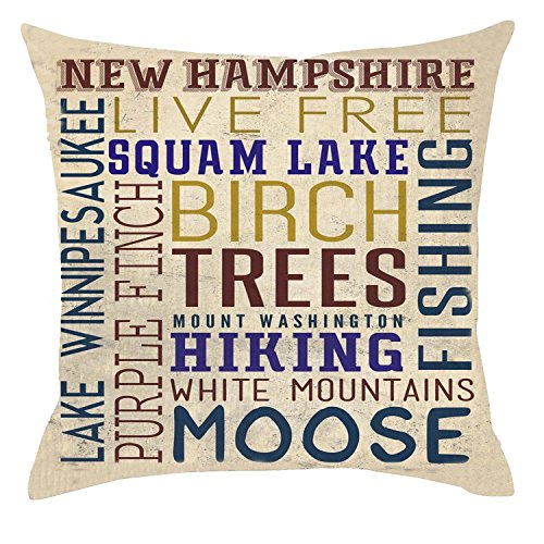 GAWEKIQE Retro Wood Grain Background Family Life Phrases New Hampshire Live Free Cotton Linen Throw Pillow Cover Cushion Case Holiday Decorative 18