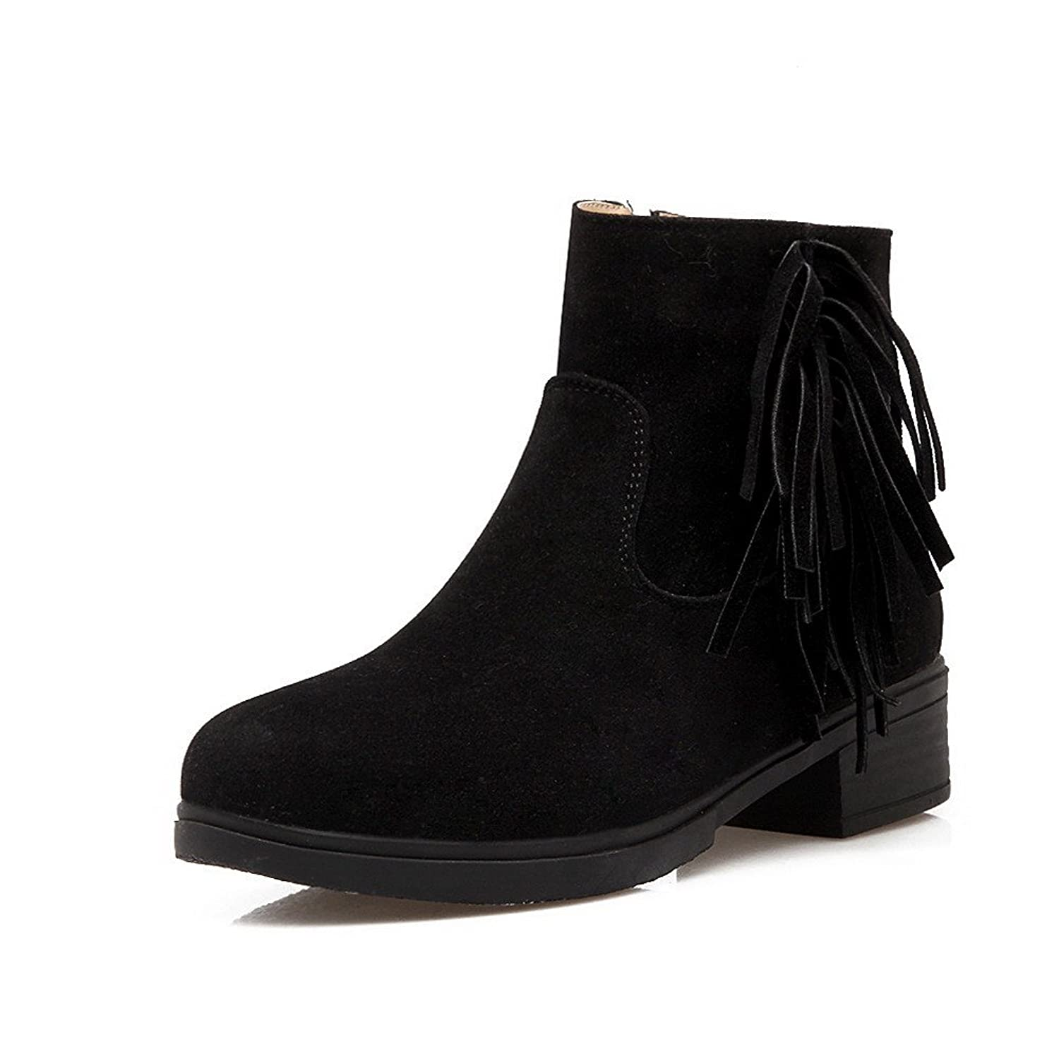 WeiPoot Women's Frosted Closed Round Toe Solid Low-top Low-Heels Boots