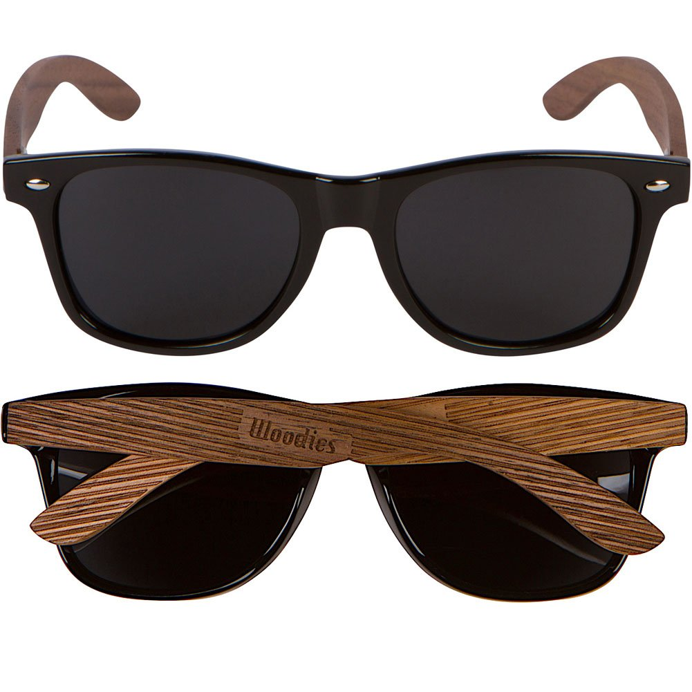 Amazon.com: Woodies madera de nogal Wayfarer anteojos de sol ...