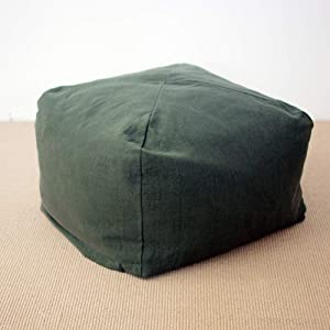 YQ WHJB Cotton and Linen Bean Bag Chair,Japanese Lazy Sofa Seat Cushions,Living Room Tatami Removable Low Stool Floor Pillow-C 35x35x25cm(14x14x10inch)