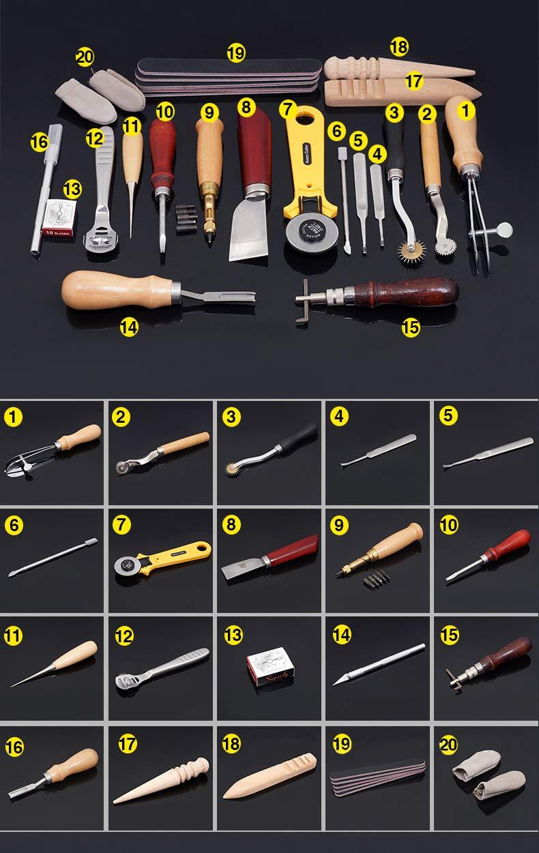 Joyeee 20 Piezas de Herramientas de Coser de Cuero Artesan/ía de Cuero Kit de Costura de Bricolaje Herramientas de Bricolaje Kit de Herramientas de Cuero a Mano Herramientas de Costura