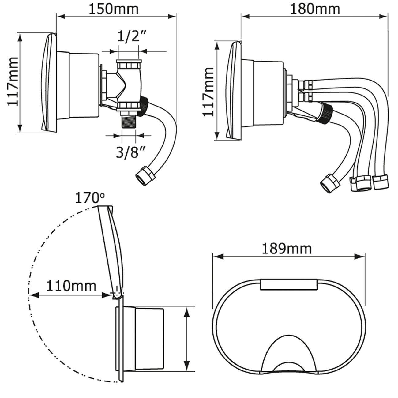 Nuova Rade Caja Doble Grifo Ducha-Mezclador Blanco Agua fria-caliente//Blanco