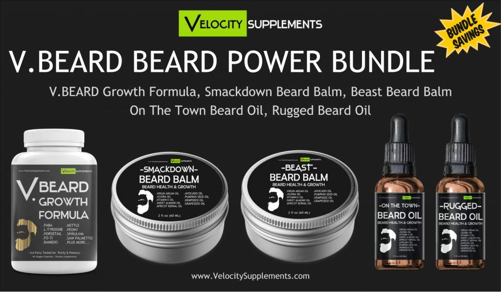 VBEARD Beard Power Bundle - VBeard Beard Vitamins 2 Beard Balms & 2 Beard Oils