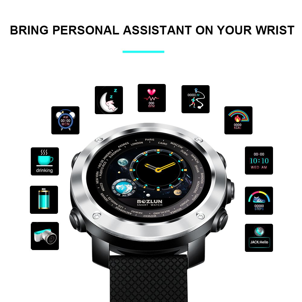 Fashion Mens Smart Watch for iPhone Android with Heart Rate Monitor Pedometer Sleep Track Colorful Screen and Dual Face Display