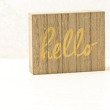 Amazon.com: Ankit Hello Wood Art (4x5 in) wall art wall décor for ...