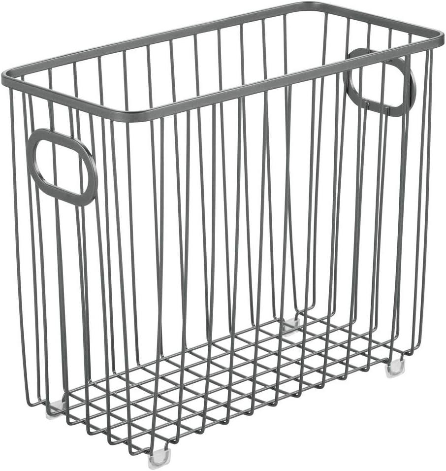 plateado mDesign Cesta de almacenaje en metal con asas integradas Caja organizadora con atractivo dise/ño en malla de alambre Ideal como organizador de ba/ño para cosm/éticos