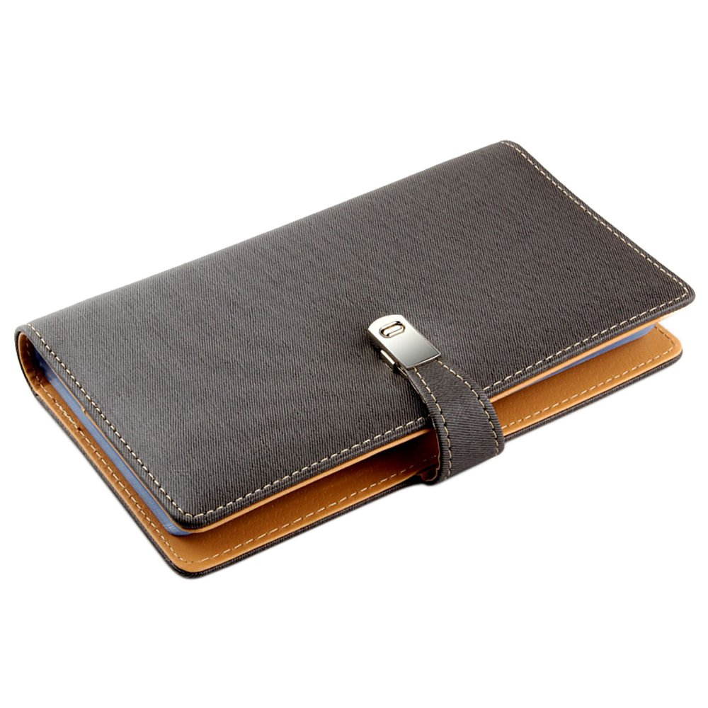 Esdrem Leather Business Card Journal Name Card Book Credit Card Holder Wallet for 240 Cards (Grey)