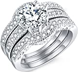 MABELLA Jewelry 2.50 CTW Halo Round White CZ 925 Solid Sterling Silver Trio Engagement Wedding Band Ring Sets Christmas Gifts