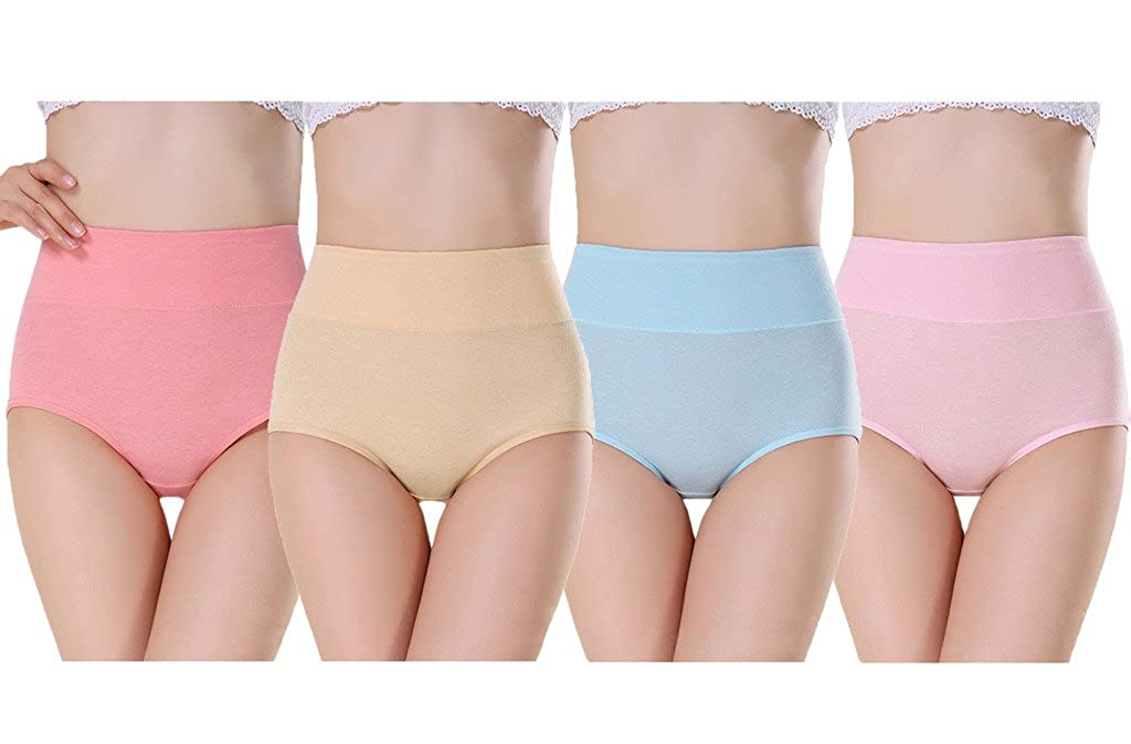 Andyshi Women's 4 Pack Breathable Cotton High Waist Brief Panties BRIEFS01-4P-A