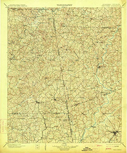 - YellowMaps Wedowee AL topo map, 1:125000 Scale, 30 X 30 Minute, Historical, 1902, Updated 1914, 19.7 x 16.4 in - Paper
