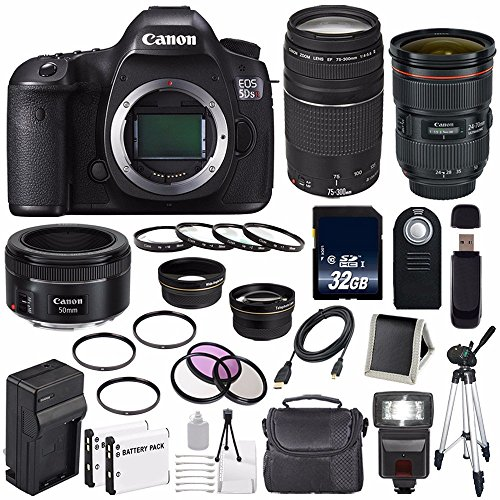 Canon EOS 5DS R DSLR Camera (Body Only) + Canon EF 24-70mm f/2.8L II USM Lens + Canon EF 75-300mm f/4-5.6 III Lens + Canon EF 50mm f/1.8 STM Lens + LP-E6 Replacement Battery + Charger + 32GB Bundle