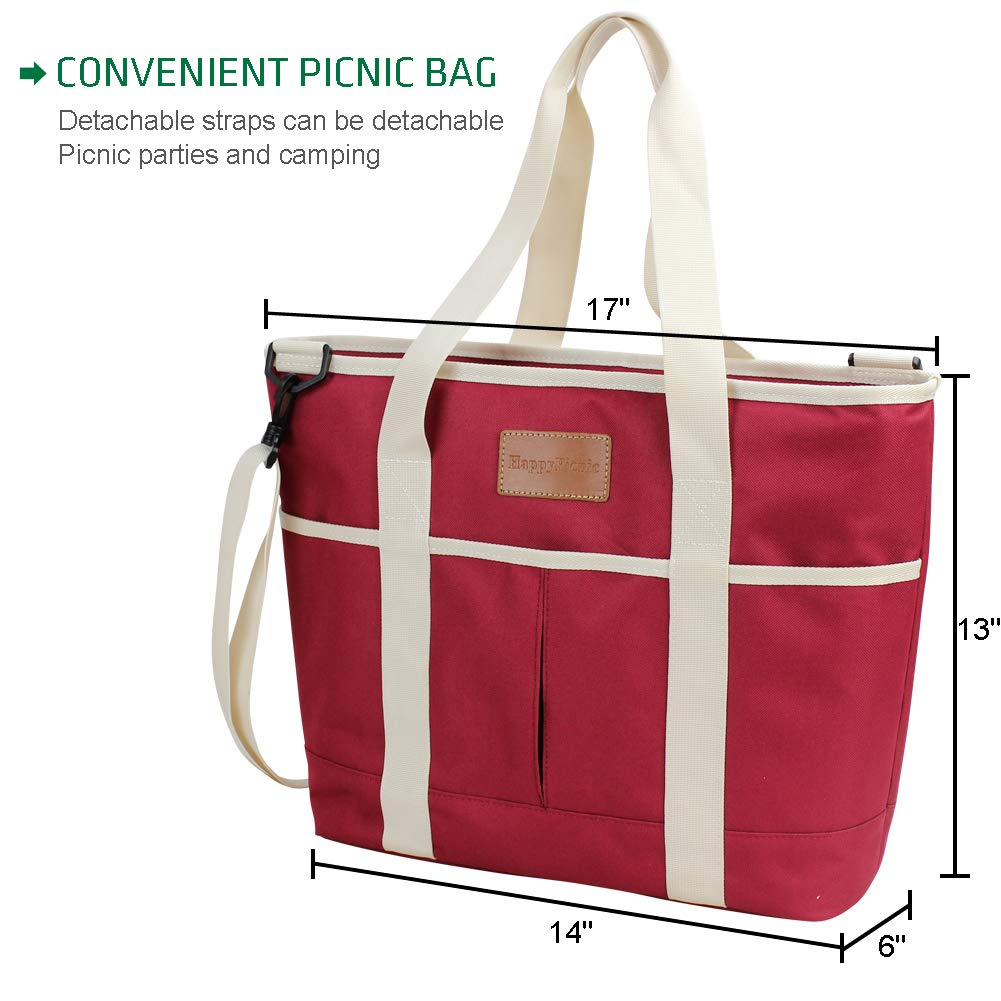 HappyPicnic 16L Large Insulated Bag 25CAN Waterproof Cooler Carrier Bag Thermal Picnic Tote Lunch Bags for Outdoor Camping,Beach Day or Travel Collapsible Grocery Shopping Storage Bag-Burgundy