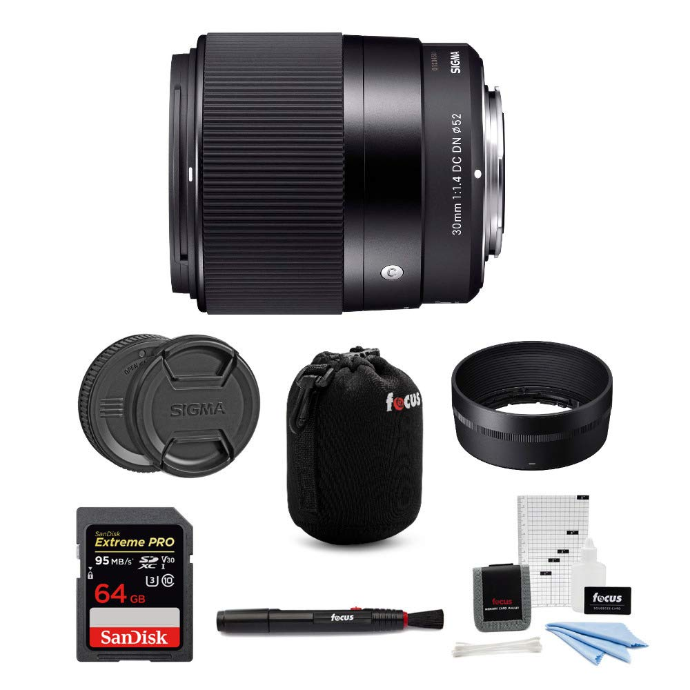 Sigma 30mm f/1.4 DC DN Contemporary Prime Lens for Sony E-Mount w/ 64GB Extreme PRO Bundle by Sigma