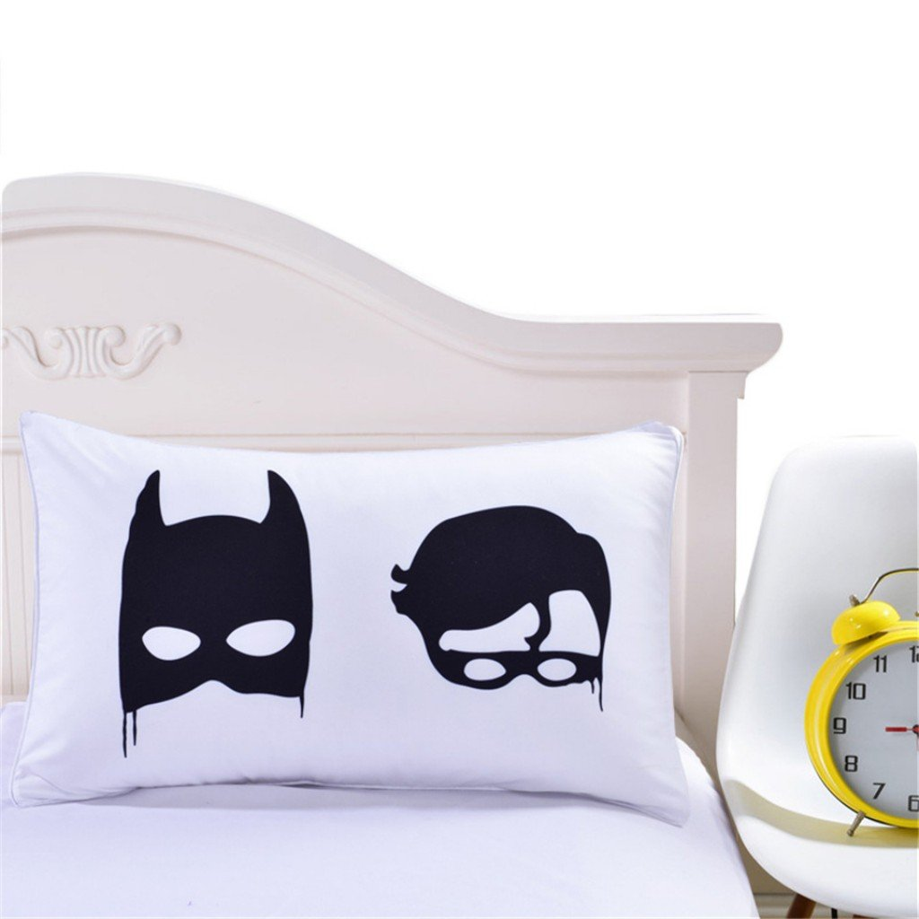 S Hotel Collection Set of 2 Pillow Shams 1800 Thread Count Microfiber Batman Pattern Couple Cases- Soft & Cozy, Wrinkle Resistant - Hypoallergenic(Standard 20''x 30'')