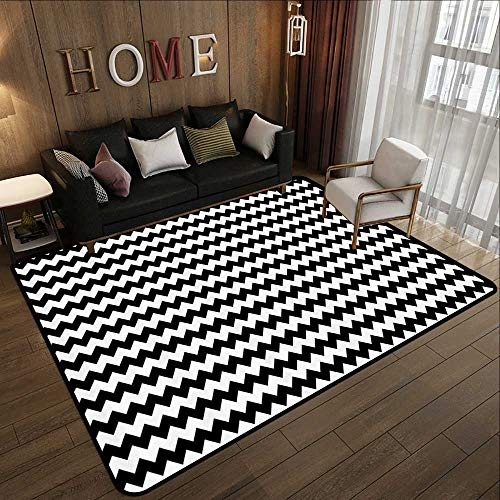 Durable Rubber Floor Mat,Chevron,Zig Zags in Black and White Sharp Arrow Inspired Classic Retro Tile Monochrome,Black White 71