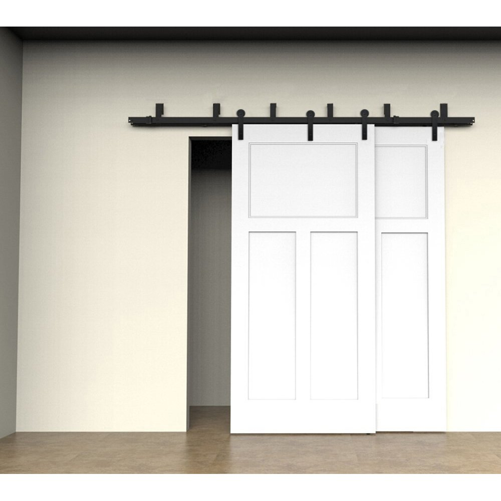 ZEKOO Antique Rustic Style Sliding Barn Wood Door Hardware Black Steel Rollers Hanger Straight-style