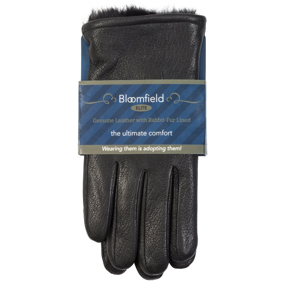 Men's Luxurious Genuine Leather with Rabbit-Fur Lined Gloves,Fine Leather,Small