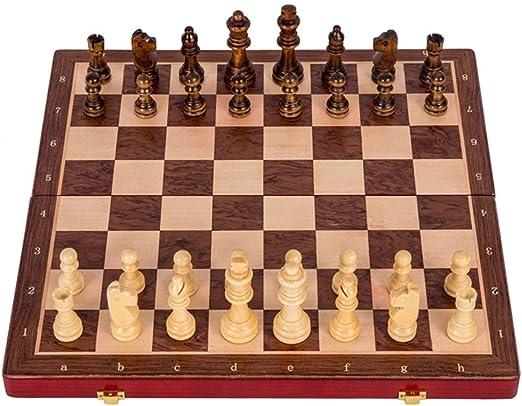 OhLt-j Juego de ajedrez: Juego de Mesa de Madera Plegable, Piezas ...