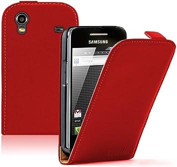 Membrane Rouge Cuir Étui Coque compatible pour Samsung S5830 ...