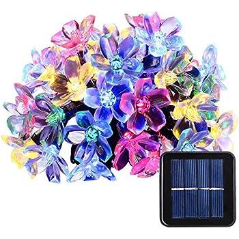 Qedertek Solar Christmas String Lights, 21ft 50 LED Fairy Blossom Flower Garden  Lights For Outdoor