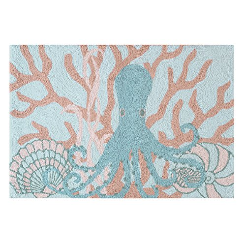 C&F Home Hooked Saltwater Serenity Coastal Rug, Blue (Colored Coral Rugs)