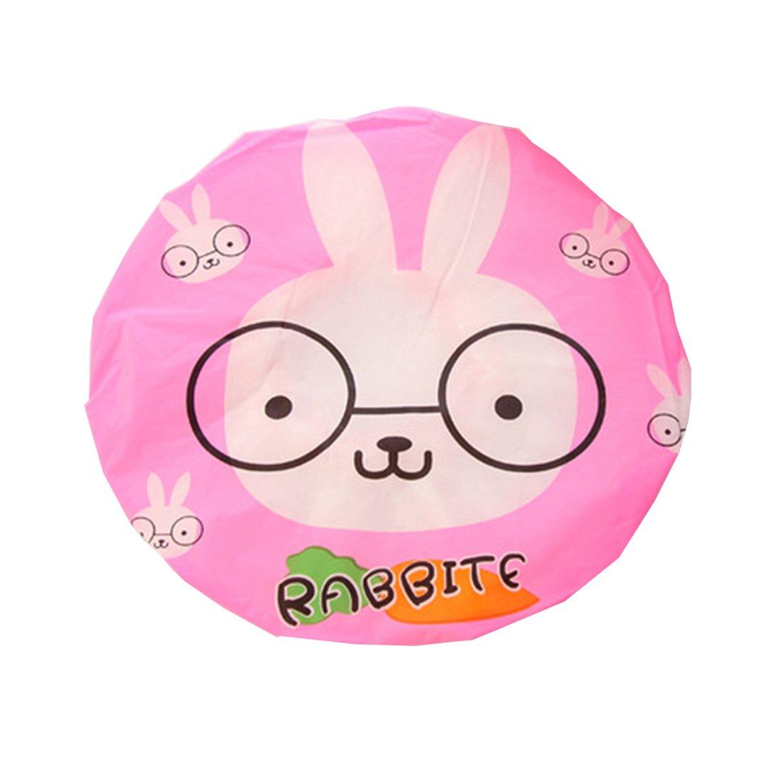 Ctgvh mignon Bonnet de douche, plastique élastique Animal Bain Motif étanche Maquillage capuchon pour les femmes filles (Motif lapin)