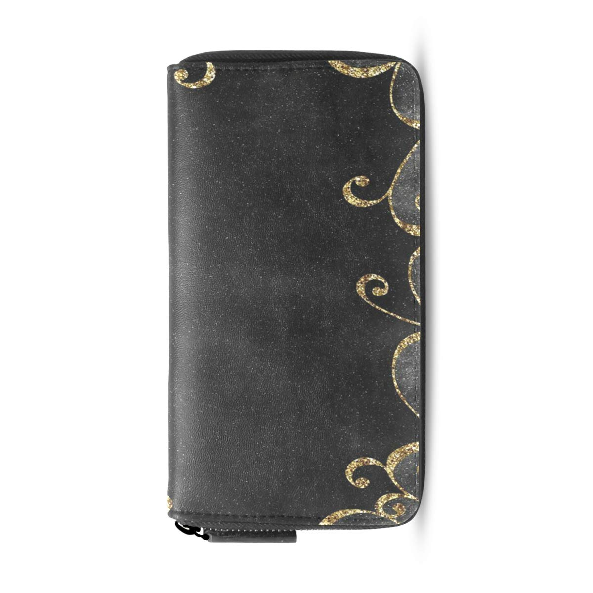 Womens Wallets Black And Gold Backgrounds Leather Passport Wallet Coin Purse Girls Handbags