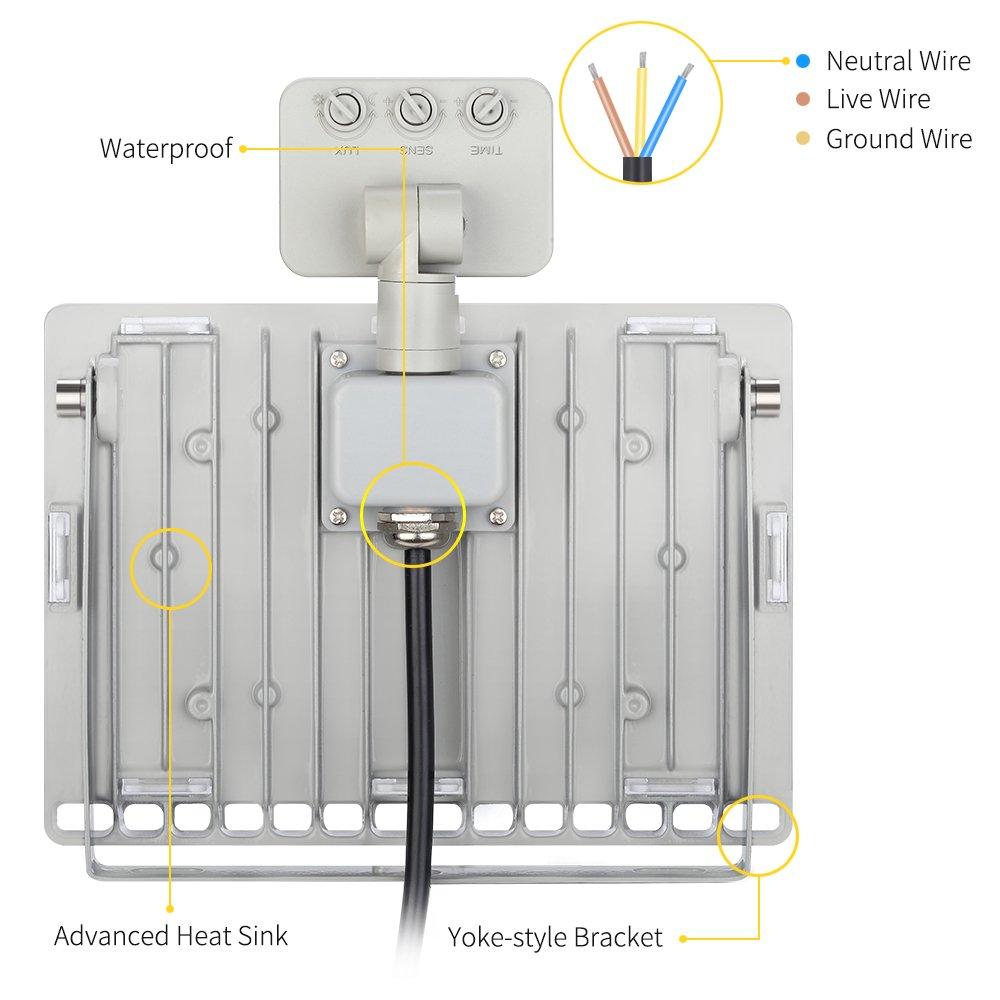 Proyextor LED Foco para Reflector LED con Detector de Movimiento, Ultradelgado, para Interior y Exterior, IP65 Impermeable, para Jardín, Terraza, Fábrica, ...