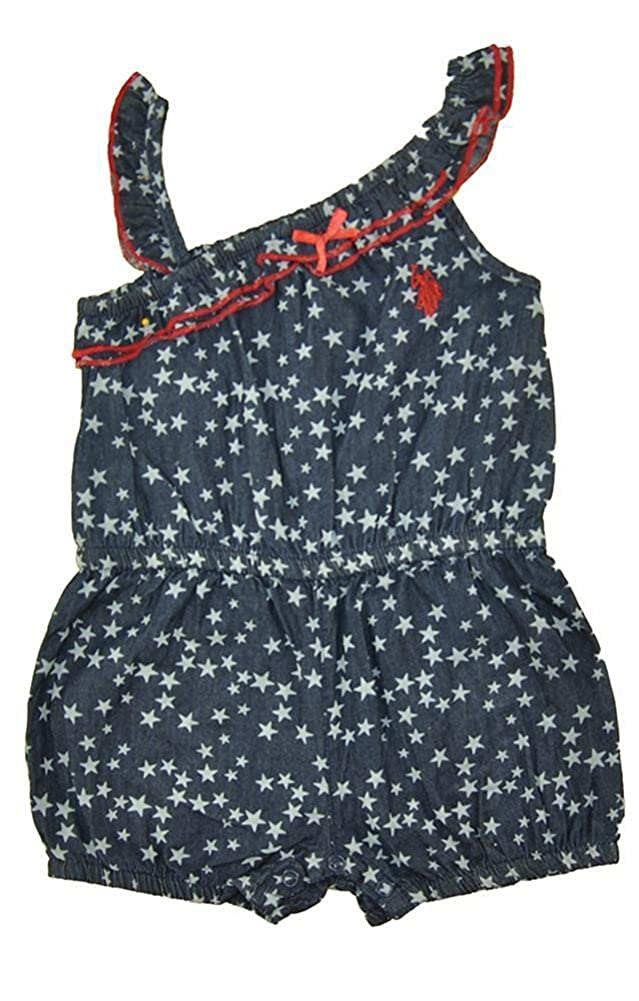 Little Girls Chambray Star Print Romper Polo Assn U.S