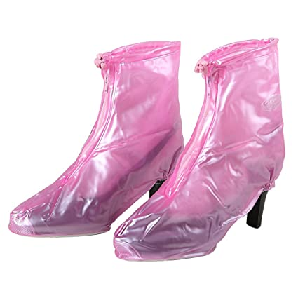 Retro Boots, Granny Boots, 70s Boots Womens Waterproof Emergency Shoes Cover Blue and Pink High Heel Shoes Cover Rain Snow Boots Cover Overshoes (Medium Pink) $8.99 AT vintagedancer.com