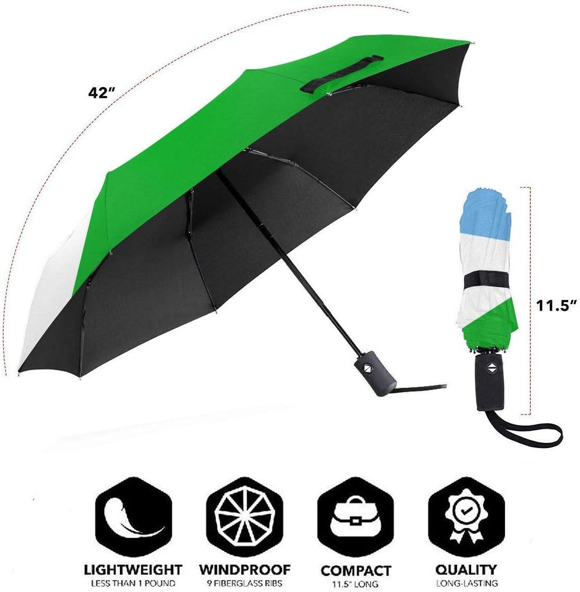 Djibouti Flag Automatic Tri-fold Umbrella Interesting Windproof Anti UV Rain//Sun Travel Umbrella Light Weight.